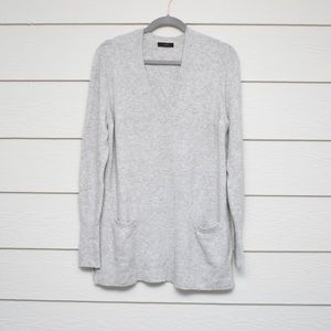 J. Crew Gray Front Pocket V Neck Sweater Tunic